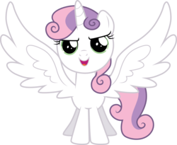 Size: 3013x2476 | Tagged: safe, artist:cloudyglow, sweetie belle, alicorn, pony, race swap, simple background, solo, sweetiecorn, transparent background, vector