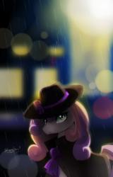 Size: 768x1200 | Tagged: safe, artist:skyeypony, sweetie belle, bust, city, cloak, clothes, depth of field, detective, female, hat, lens flare, noir, older sweetie belle, portrait, rain, solo, trenchcoat, wide-brimmed hat