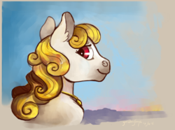 Size: 1244x926 | Tagged: safe, artist:spectralunicorn, oc, oc only, oc:yellowstar, earth pony, pony, bust, horizon, jewelry, looking at you, necklace, portrait, sky, smiling, solo