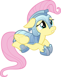 Size: 900x1128 | Tagged: safe, artist:fineprint-mlp, fluttershy, armor, floppy ears, frown, gladiator, gritted teeth, looking up, prone, sad, scared, simple background, solo, transparent background, vector