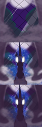 Size: 594x1782 | Tagged: safe, artist:azurek, nightmare moon, ask princess moon, comic, dark, female, fog, glowing eyes, moon, solo, window