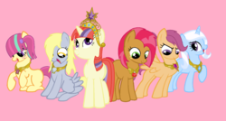 Size: 1024x548 | Tagged: alternate mane six, alternate universe, artist:blazeandzsalynn, babs seed, derpy hooves, elements of harmony, female, jewelry, mare, moondancer, pegasus, pony, regalia, safe, scootaloo, simple background, sour sweet, trixie