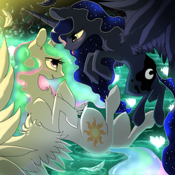 Size: 1024x1024   Tagged: safe, artist:96paperkuts, princess celestia, princess luna, :p, bedroom eyes, blushing, cave, eye contact, female, flower, fluffy, flying, incest, lesbian, missing accessory, morning, on back, open mouth, pond, princest, shipping, sisters, smiling, spread wings, tongue out, underhoof