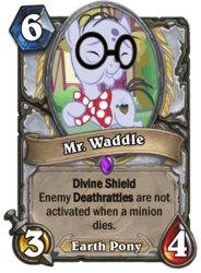 Size: 400x543 | Tagged: bowtie, card, earth pony, elderly, eyes closed, glasses, hearthstone, liver spots, male, meta, mr. waddle, pony, safe, screencap, solo, stallion, warcraft