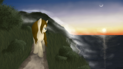 Size: 1920x1080 | Tagged: artist:eagle1division, fog, mist, moon, mountain, oc, oc:dynamic canvas, ocean, oc only, safe, scenery, shore, sunset, wet mane