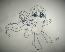 Size: 1024x811 | Tagged: artist:lilapudelpony, fluttershy, lineart, looking up, monochrome, running, safe, solo, spread wings, traditional art, watermark