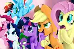 Size: 2100x1400 | Tagged: safe, artist:kyle23emma, applejack, fluttershy, pinkie pie, rainbow dash, rarity, spike, twilight sparkle, alicorn, pony, mane six, twilight sparkle (alicorn)