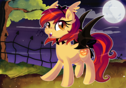Size: 1600x1124   Tagged: safe, artist:spookyle, oc, oc only, oc:pumpkin bell, bat pony, pony, bat pony oc, bat wings, bell, bell collar, bow, cloud, collar, colored wings, digital art, ear fluff, female, fence, freckles, full moon, grass, hairband, looking at you, mare, moon, music notes, night, night sky, open mouth, raised hoof, raised leg, signature, sky, slit eyes, smiling, solo, spread wings, tail bow, tree, wings