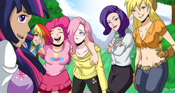 Size: 1000x534 | Tagged: safe, artist:itanatsu-chan, applejack, fluttershy, pinkie pie, rainbow dash, rarity, twilight sparkle, human, belly button, breasts, cleavage, clothes, female, front knot midriff, humanized, midriff, skirt, sweater, sweatershy