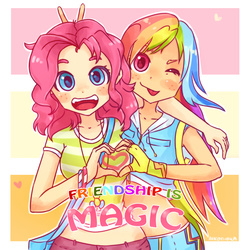 Size: 1200x1200 | Tagged: safe, artist:aikoishika, pinkie pie, rainbow dash, human, :p, bunny ears (gesture), cute, dashabetes, diapinkes, duo, friendshipping, heart, heart hands, humanized, looking at you, midriff, one eye closed, text, title drop, tongue out, wink