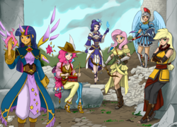Size: 2000x1440   Tagged: safe, artist:johnjoseco, color edit, colorist:lanceomikron, edit, applejack, fluttershy, pinkie pie, rainbow dash, rarity, twilight sparkle, alicorn, human, my little mages, adventuring party, archer, archmage, arrow, bard, bard pie, bow (weapon), bow and arrow, colored, dragoon, drums, drumsticks, dungeons and dragons, enchantress, fantasy class, female, horn wand, humanized, knight, looking at you, mane six, monk, musical instrument, open mouth, paladin, ranger, shield, smiling, spear, twilight sparkle (alicorn), wand, warrior, weapon, winged humanization, wings, wizard