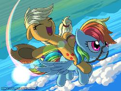 Size: 800x600 | Tagged: safe, artist:rangelost, applejack, rainbow dash, applejack riding rainbow dash, duo, female, flying, harness, pixel art, ponies riding ponies, rainbow trail, riding