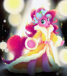 Size: 1024x1168 | Tagged: safe, artist:clarichi, pinkie pie, spirit of hearth's warming presents, pony, a hearth's warming tail, bipedal, cute, diapinkes, female, open mouth, solo