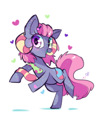 Size: 800x966   Tagged: safe, artist:ipun, oc, oc only, earth pony, pony, blushing, clothes, female, heart, heart eyes, mare, open mouth, simple background, socks, solo, white background, wingding eyes