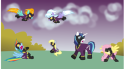 Size: 1665x921 | Tagged: safe, artist:punzil504, cloudchaser, derpy hooves, fluttershy, lightning dust, rainbow dash, shining armor, pegasus, pony, clothes, female, flutterrage, mare, shadowbolt dash, shadowbolts, shadowbolts costume