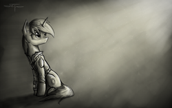 Size: 2058x1296 | Tagged: safe, artist:setharu, oc, oc only, oc:littlepip, pony, unicorn, fallout equestria, black and white, clothes, cutie mark, ear fluff, fanfic, fanfic art, female, frown, grayscale, hooves, horn, looking up, mare, monochrome, pipbuck, sad, signature, sitting, sketch, solo, vault suit