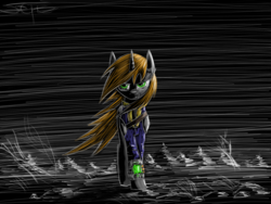 Size: 1280x960 | Tagged: safe, artist:setharu, oc, oc only, oc:littlepip, pony, unicorn, fallout equestria, angry, clothes, dark, fanfic, fanfic art, female, hooves, horn, looking at you, mare, outdoors, pipbuck, signature, solo, speedpaint, standing, vault suit, walking, wind, windswept mane