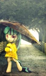 Size: 1800x2981   Tagged: safe, artist:sourcerabbit, sonata dusk, pony, 3d, bipedal, female, rain, raincoat, smiling, solo, source filmmaker, umbrella