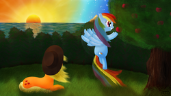 Size: 1920x1080 | Tagged: safe, artist:cavalloniere, applejack, rainbow dash, apple, appledash, female, flying, food, forest, grass, grin, hat, lesbian, lying, lying down, prone, shipping, smiling, spread wings, sunset, tree, water