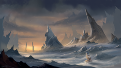 Size: 1920x1080 | Tagged: dead source, safe, artist:shamanguli, shining armor, pony, unicorn, cloak, clothes, looking back, male, scenery, scenery porn, snow, snowfall, solo
