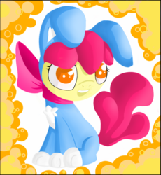 Size: 741x806 | Tagged: safe, artist:neomaaura, apple bloom, adorabloom, bunny bloom, cute, open mouth, solo