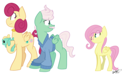 Size: 4500x2716 | Tagged: safe, artist:befishproductions, fluttershy, gentle breeze, posey shy, zephyr breeze, butterfly, pony, baby, baby pony, colt, cute, filly, filly fluttershy, insect on nose, shys, signature, simple background, the shy family, transparent background, younger