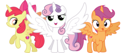 Size: 4000x1738 | Tagged: alicorn, alicornified, apple bloom, artist:cloudyglow, bloomicorn, cutie mark, cutie mark crusaders, edit, female, filly, pony, race swap, safe, scootacorn, scootaloo, simple background, sweetie belle, sweetiecorn, the cmc's cutie marks, this will end in tears and/or death and/or covered in tree sap, tongue out, transparent background, vector, xk-class end-of-the-world scenario