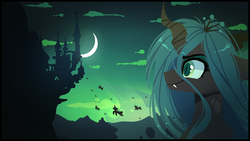 Size: 1920x1080 | Tagged: safe, artist:tenebristayga, queen chrysalis, changeling, changeling queen, canterlot, castle, crescent moon, female, fluffy, green sky, invasion, moon, night, sky