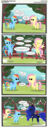 Size: 2175x5733 | Tagged: safe, artist:perfectblue97, fluttershy, princess luna, rainbow dash, alicorn, pegasus, pony, may the best pet win, comic, fart, fart noise, female, find a pet, find a pet song, mare, onomatopoeia, pointy ponies, singing, sound effects, surprised