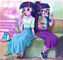 Size: 1100x1043 | Tagged: safe, artist:uotapo, princess ember, sci-twi, spike, spike the regular dog, twilight sparkle, dog, equestria girls, adventure in the comments, alternate hairstyle, beautiful, clothes, colored pupils, converse, cute, discussion in the comments, doggy dragondox, duality, ember the dog, equestria girls-ified, female, food, ice cream, long skirt, male, not what it looks like, out of context, parody, paws, ponytail, self paradog, self paradox, shoes, skirt, sneakers, spikabetes, spike the dog, twiabetes, twilight sparkle (alicorn), twolight, uotapo is trying to murder us