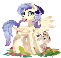 Size: 1024x988 | Tagged: safe, artist:spookyle, oc, oc only, jackalope, pegasus, pony, braid, flower, flower in hair, jewelry, looking at you, mushroom, necklace, open mouth, simple background, smiling, spread wings, transparent background