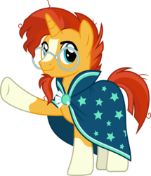 Size: 2585x3000 | Tagged: safe, artist:chainchomp2, sunburst, pony, unicorn, the crystalling, .svg available, clothes, glasses, high res, looking at you, male, robe, simple background, socks (coat markings), solo, stallion, sunburst's cloak, sunburst's glasses, transparent background, vector, waving