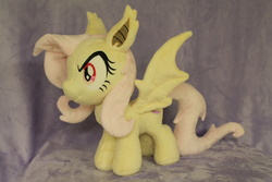 Size: 1280x853   Tagged: safe, artist:whitedove-creations, fluttershy, bat pony, pony, custom, cute, filly, flutterbat, irl, photo, plushie, race swap