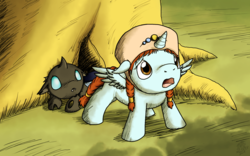 Size: 2400x1500 | Tagged: safe, artist:dragonwolfrooke, alicorn, changeling, nymph, pony, filly, floppy ears, frown, nausicaa of the valley of the wind, open mouth, ponified, sad, spread wings, standing
