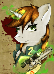 Size: 1024x1408 | Tagged: safe, artist:thunder-stream, oc, oc only, oc:littlepip, pony, unicorn, fallout equestria, abstract background, blood stains, bust, clothes, fanfic, fanfic art, female, glowing horn, gun, handgun, horn, levitation, little macintosh, magic, mare, optical sight, portrait, revolver, scope, solo, telekinesis, vault suit, weapon