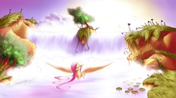 Size: 3612x2014 | Tagged: safe, artist:freeedon, fluttershy, pegasus, pony, bathing, beautiful, cloud, eyes closed, featured image, female, floppy ears, flower, grass, nature, outdoors, scenery, solo, spread wings, sun, water, waterfall, waterfall shower, wet mane