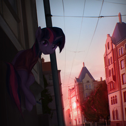 Size: 1200x1200 | Tagged: dead source, safe, artist:exeini, twilight sparkle, alicorn, pony, chromatic aberration, city, clothes, cute, featured image, female, looking at you, mare, moscow, power line, scenery, scenery porn, sitting, solo, town, twiabetes, twilight sparkle (alicorn), wires