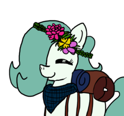 Size: 640x600 | Tagged: safe, artist:ficficponyfic, color edit, edit, oc, oc only, oc:emerald jewel, earth pony, pony, colt quest, bag, bandana, color, colored, colt, crown, cute, excited, eyes closed, flower, flower in hair, foal, hair over one eye, happy, hnnng, jewelry, male, regalia, smiling, solo, trap, weapons-grade cute