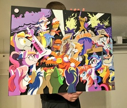 Size: 1200x1021 | Tagged: safe, artist:andypriceart, artist:the-paper-pony, idw, 33 1-3 lp, 8-bit (character), buck withers, diamond rose, dj pon-3, gaffer, gizmo, lemony gem, long play, observer (character), princess cadance, shining armor, sweetcream scoops, vinyl scratch, alicorn, earth pony, pegasus, pony, unicorn, neigh anything, spoiler:comic, spoiler:comic11, 80s, adam ant, andy you magnificent bastard, boy george, cowbell, cutiespark, danny elfman, devo, dj-pon3, drum kit, drums, energy dome, female, ferris bueller's day off, filly, filly vinyl scratch, frankie goes to hollywood, keytar, little girls, lyrics, male, musical instrument, new wave, observer, official, oingo boingo, revenge of the nerds, song reference, spread wings, stallion, teary eyes, text, the mystic knights of the electric stable, wings, younger