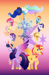 Size: 4424x6771 | Tagged: safe, artist:princess-madeleine, applejack, fluttershy, pinkie pie, princess celestia, princess luna, rainbow dash, rarity, starlight glimmer, sunset shimmer, tree of harmony, twilight sparkle, alicorn, pony, absurd resolution, alicornified, elements of harmony, jewelry, mane eight, mane six, older, race swap, regalia, shimmercorn, tapestry, twilight sparkle (alicorn)