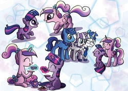 Size: 1107x790 | Tagged: safe, artist:agnesgarbowska, night light, princess cadance, shining armor, twilight sparkle, twilight velvet, alicorn, pony, unicorn, idw, spoiler:comic, spoiler:comicff30, filly, filly cadance, filly twilight sparkle, teen princess cadance, unicorn twilight, young, young twilight, younger