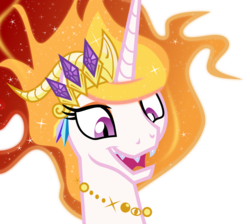 Size: 4466x4000 | Tagged: absurd res, artist:brisineo, cropped, crown, edit, jewelry, mane of fire, moonie snacks, nightmare star, pony, princess celestia, regalia, safe, sharp teeth, silly, silly pony, simple background, slit eyes, smiling, solo, transparent background, vector