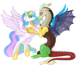 Size: 5835x5053 | Tagged: safe, artist:amazing-artsong, discord, princess celestia, pony, absurd resolution, bipedal, bipedal leaning, dislestia, female, hug, male, shipping, simple background, spreading, straight, transparent background