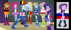 Size: 1678x714 | Tagged: applejack, artist:anonymous, artist:ironm17, belgium, dancing, dog, england, equestria girls, equestria girls-ified, euro 2016, fluttershy, football, france, germany, humane nine, humane six, iceland, italy, mane nine, mane six, meme, metaphor, pinkie pie, poland, portugal, rainbow dash, rainbow rocks, rarity, russia, safe, spike, spike the dog, starlight glimmer, sunset shimmer, trixie, twilight sparkle, twilight sparkle (alicorn), wales
