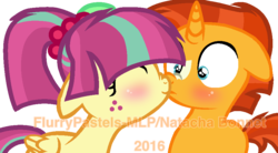 Size: 896x496 | Tagged: artist:flurrypastels-mlp, artist:unoriginai, base used, blushing, boop, colt, cute, equestria girls, equestria girls ponified, eyes closed, filly, floppy ears, frown, noseboop, nose wrinkle, ponified, safe, shipping, simple background, smiling, sourburst, sour sweet, sunburst, surprised, transparent background, watermark, wide eyes