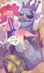 Size: 1990x3300 | Tagged: safe, artist:mili-kat, king grover, pinkie pie, griffon, human, the lost treasure of griffonstone, groverpie, humanized, old charmer, scene interpretation, shipping, statue