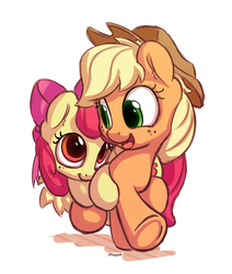 Size: 1100x1300 | Tagged: safe, artist:bobdude0, apple bloom, applejack, earth pony, pony, adorabloom, applebetes, applejack's hat, bow, cowboy hat, cute, daaaaaaaaaaaw, female, filly, freckles, hair bow, happy, hat, jackabetes, looking at each other, mare, open mouth, simple background, sisters, smiling, stetson