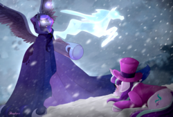 Size: 2039x1378 | Tagged: safe, artist:hosikawa, princess luna, snowfall frost, spirit of hearth's warming yet to come, starlight glimmer, windigo, a hearth's warming tail, blizzard, cloak, clothes, crying, glowing eyes, magic, prone, snow, snowfall