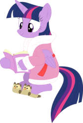 Size: 2405x3581 | Tagged: safe, artist:porygon2z, owlowiscious, twilight sparkle, alicorn, pony, bathrobe, clothes, female, magazine, simple background, slippers, solo, transparent background, twilight sparkle (alicorn), vector