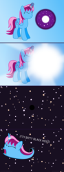 Size: 4320x11640 | Tagged: safe, artist:parclytaxel, oc, oc only, oc:parcly taxel, alicorn, pony, ain't never had friends like us, .svg available, absurd resolution, aladdin, alicorn oc, ask, black hole, comic, conjuring, eyes closed, horn ring, magic, screaming, slurp, solo, space, spell gone wrong, stars, tumblr, universe, vector